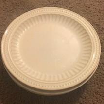 "Set of 6 Bombay & Company 11-1/4"" Dinner Plates Cream Dots Stripes Dinne... - $57.42"