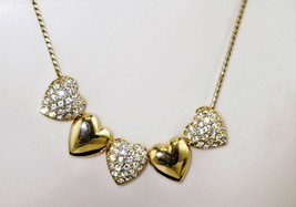 Joan Rivers 5 Heart Crystal Reversible Slide Necklace Crystal Heart  - $20.13