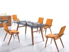 HANA 7 pieces Rectangular Dining Room Gray Glass Top Table & Orange Chairs Set