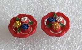 """Vintage 3D Rose Flower Red Lucite Stud Earrings 7/8"""" Diameter - $16.65"""