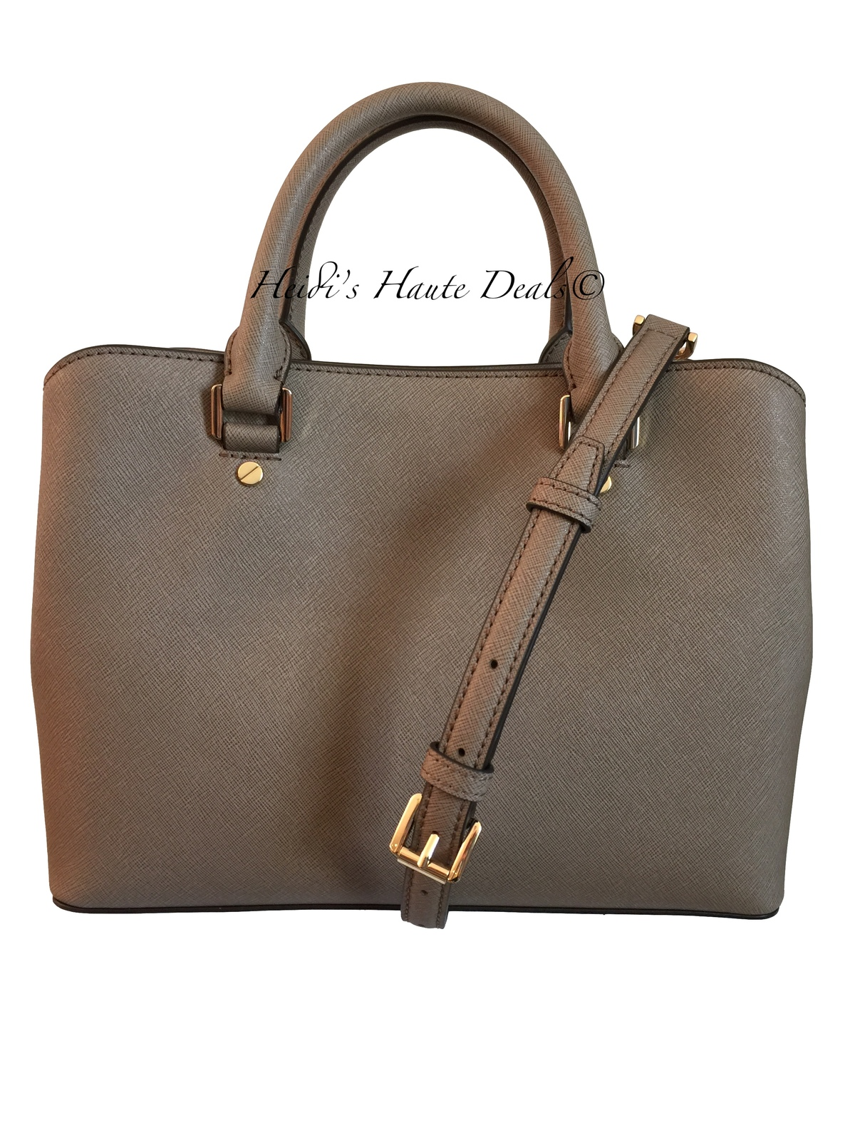 8c71371a3466 NWT MICHAEL KORS Savannah Medium Satchel Dark Dune Saffiano Leather Bag  Purse