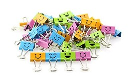 Metal Paper Clip Set Cute Smiling Face Binder Clips 1 inch/25MM Four Col... - £6.46 GBP
