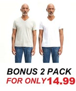 NEW LEVI'S 2-PACK SLIM FIT V-NECK JERSEY COTTON TEE WHITE/GRAY SOLID T-S... - $23.47