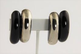 ESTATE 80's VINTAGE Jewelry STERLING SILVER & EBONY WOOD SIGNED JG EARRINGS - $63.75