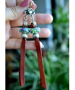 Long leather earrings, Long Boho earrings, Tribal earrings, designer (E972) - $13.99