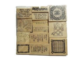 Set of 13 NEW Wood Mounted Rubber Stamps, Various image 1