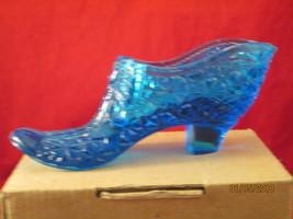 Blue Fenton glass shoe - $17.50
