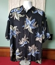 Campia Moda Mens Hawaiian Shirt Aloha Camp Black Blue Leaf Rayon Size XXL - $19.79