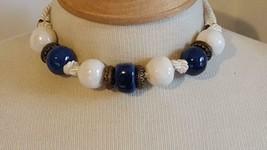 "16""VINTAGE Blue White Pottery Chunky Beaded Choker Necklace,Cobalt,Rope,Glazed, - $6.39"