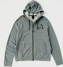 Armani Exchange A|X Mens Full Zip Logo Gray Cotton Hooded Jacket Hoodie L - $51.38