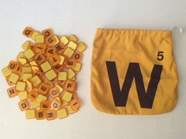 Word With Friends Game 102 Yellow Tiles W/ Drawstring Bag 2012 Replacement - $7.69
