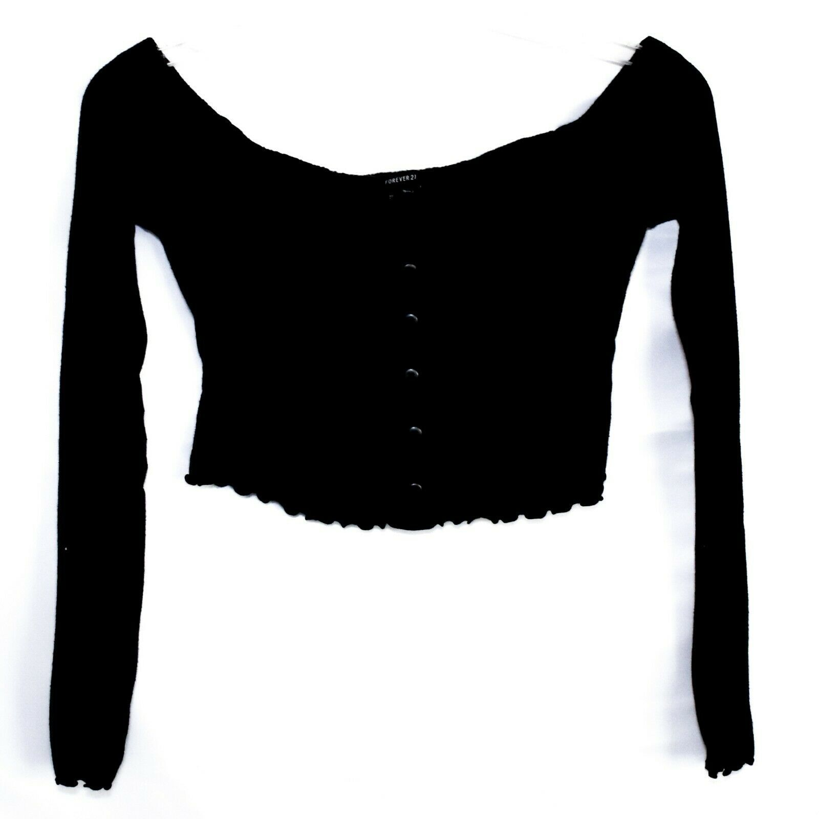Forever 21 00194713 Women's Black Knit Crop Top Sweater Size S