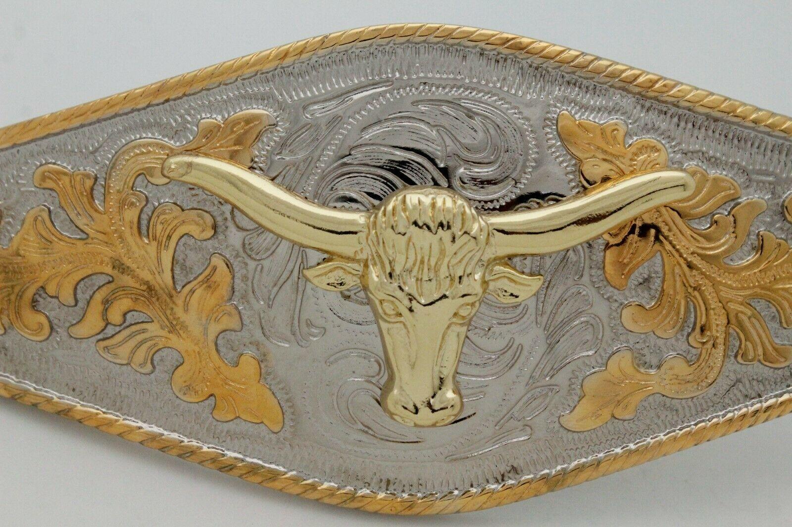 Hombre Western Cowboys Cinturón Hebilla Metal Plata Rodeo Largo Oro Texas Cuerno image 12
