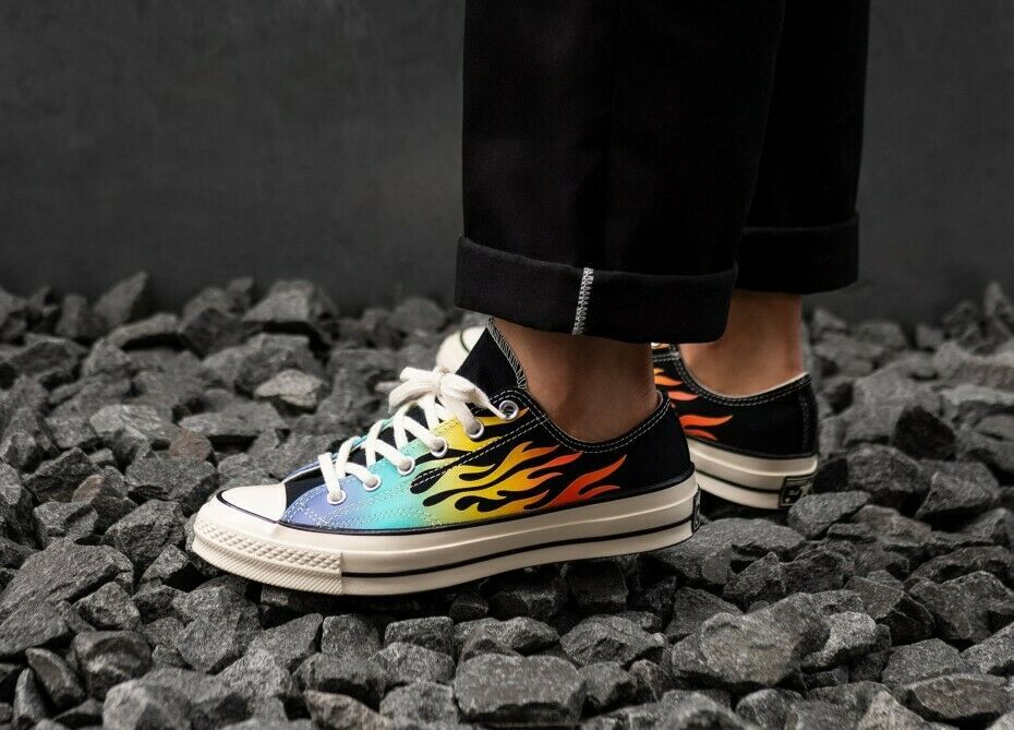 Converse Chuck 70 Ox Flames Archive Print Canvas 164407C Black/Turf Orange/Egret image 12