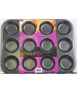 Nonstick 12 cup shallow muffin Top pan Premium Quality Heavy Guage Carbo... - $104,68 MXN