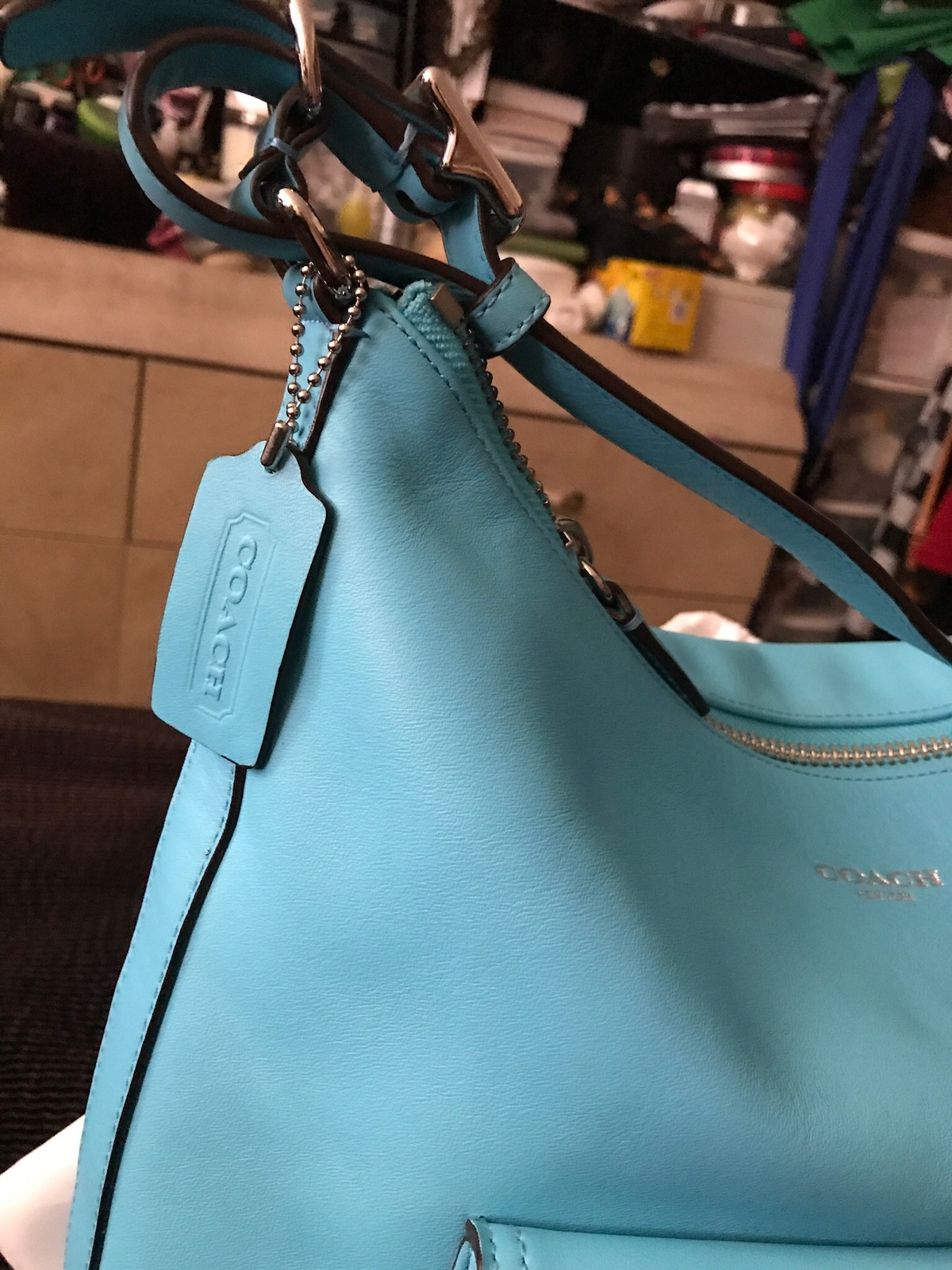 Authentic Coach 22381 legacy leather Courtney Hobo Bag tassels Robin Blue