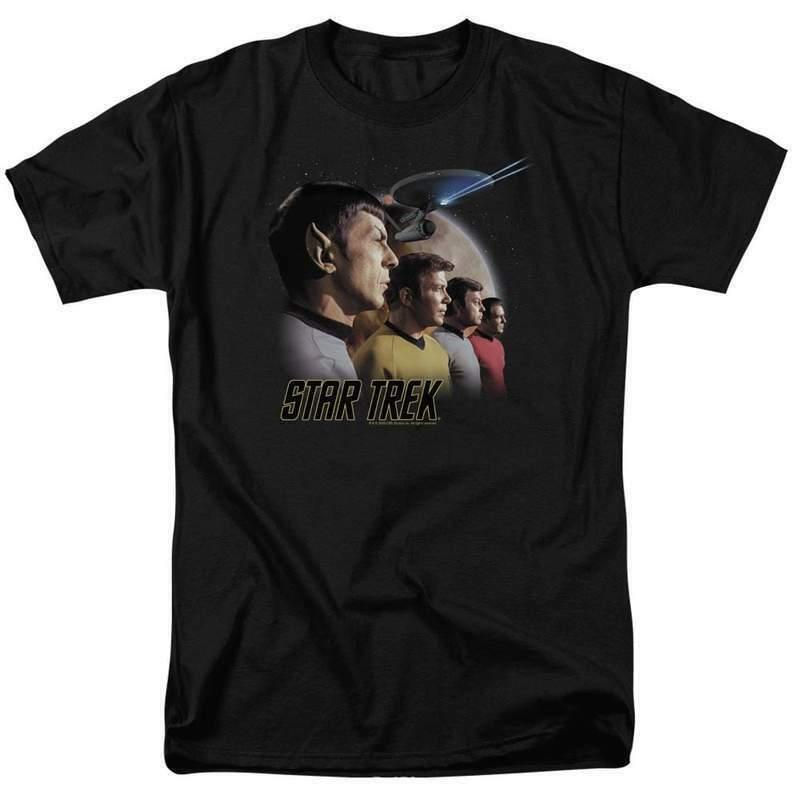 Star Trek T-shirt Retro 60s original crew Kirk  Spock graphic tee CBS108