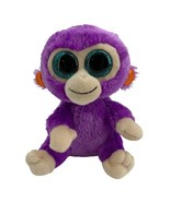 "TY Beanie Boo Plush - 6"" Grapes Monkey Purple Big Teal Blue Glitter Eyes - $4.90"