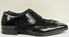 Handmade Men's Black Leather and Suede Wing Tip Oxford Shoes image 4