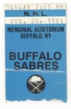 RARE Hartford Whalers @ Buffalo 12/20/81 Logo Ticket Stub! Sabres W 8-2! - $3.36