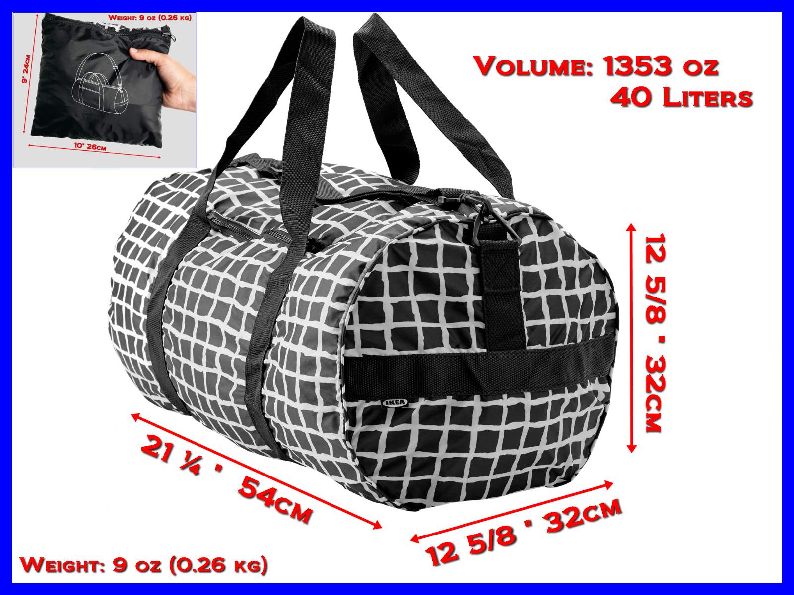 "Large Packable Duffel Sports Bag 21""  and Backpack 17"" Gym Travel - Collapsible"