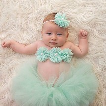 Newborn baby girls mint green tutu 3pc set for 1st picture outfit photo ... - $10.99