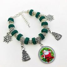 Charm Bracelet Christmas Santa Claus Tree Snowflake Green European Muran... - $14.01