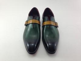 Handmade Men's Green Burnished Monk Strap Dress Formal Leather Shoes image 2