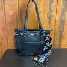 Giani Bernini Pebbled Leather Zip Shoulder Bag With Scarf - Black - $89.00