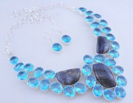 Sodalite - Faceted Blue Topaz  Silver Overlay  Jewelry Necklace Fn-403 - $25.20