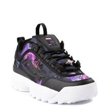 Neu Damen FILA Disruptor 2 Blumenmuster Athletic Schuhe Schwarz Lila - $99.97