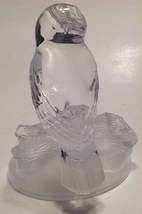 Figurine Glass Owl Paperweight Heavy Clear Frosted Satin Glass Sitting on Log image 3