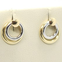 Boucles D'Oreilles or Jaune Blanc 750 18K, Double Cercle, Stack, Made en... - $146.41