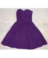 NWT $125 Lauren James Sz XS Savannah Solid Purple Strapless Seersucker D... - $29.67