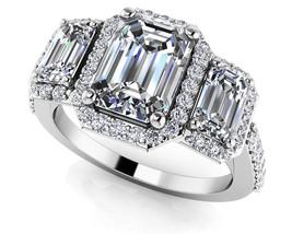 1.27 Ct Emerald Cut Sim Triple Stone Halo Engagment Ring Solid 14K White... - $122.99