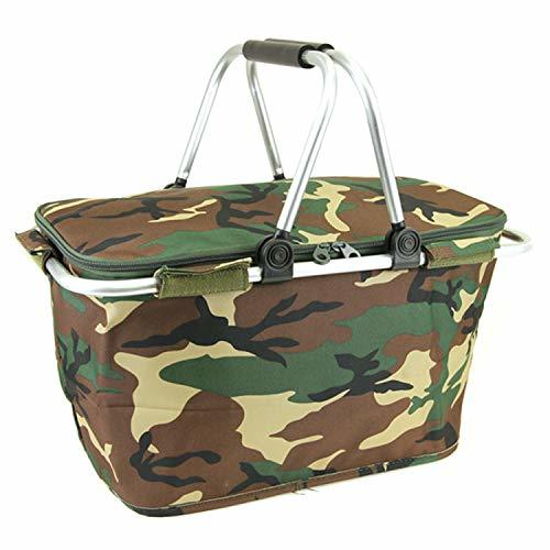 scarlettsbags Camouflage Print Metal Frame Insulated Market Tote Brown Green Cam