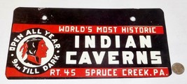 c1950 VINTAGE INDIAN CAVERNS HISTORIC SPRUCE CREEK PA CAR TRUCK LICENSE ... - $49.49