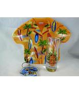 "HONOLULU HARD ROCK CAFE TIKI Tall Shot Glass 4""+dish and key fob Hawaiin - $21.77"