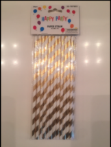 GOLD STRIPED PAPER STRAWS BIRTHDAY PARTY SUPPLIES DRINKING STRAWS 24 PIECES - $9.87 CAD