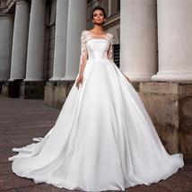 European Princess Satin Maternity Wedding Gown A-line Long Sleeve Floral Appliqu image 2