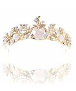 Barode Flower Bridal Wedding Crown Prom Tiara Opal Rhinestone Hair Acces... - $22.10