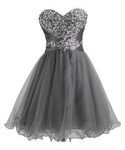 Short Homecoming Gown Dresses Tulle Sweetheart Beading Prom Cocktail Dress 2017 - $114.00