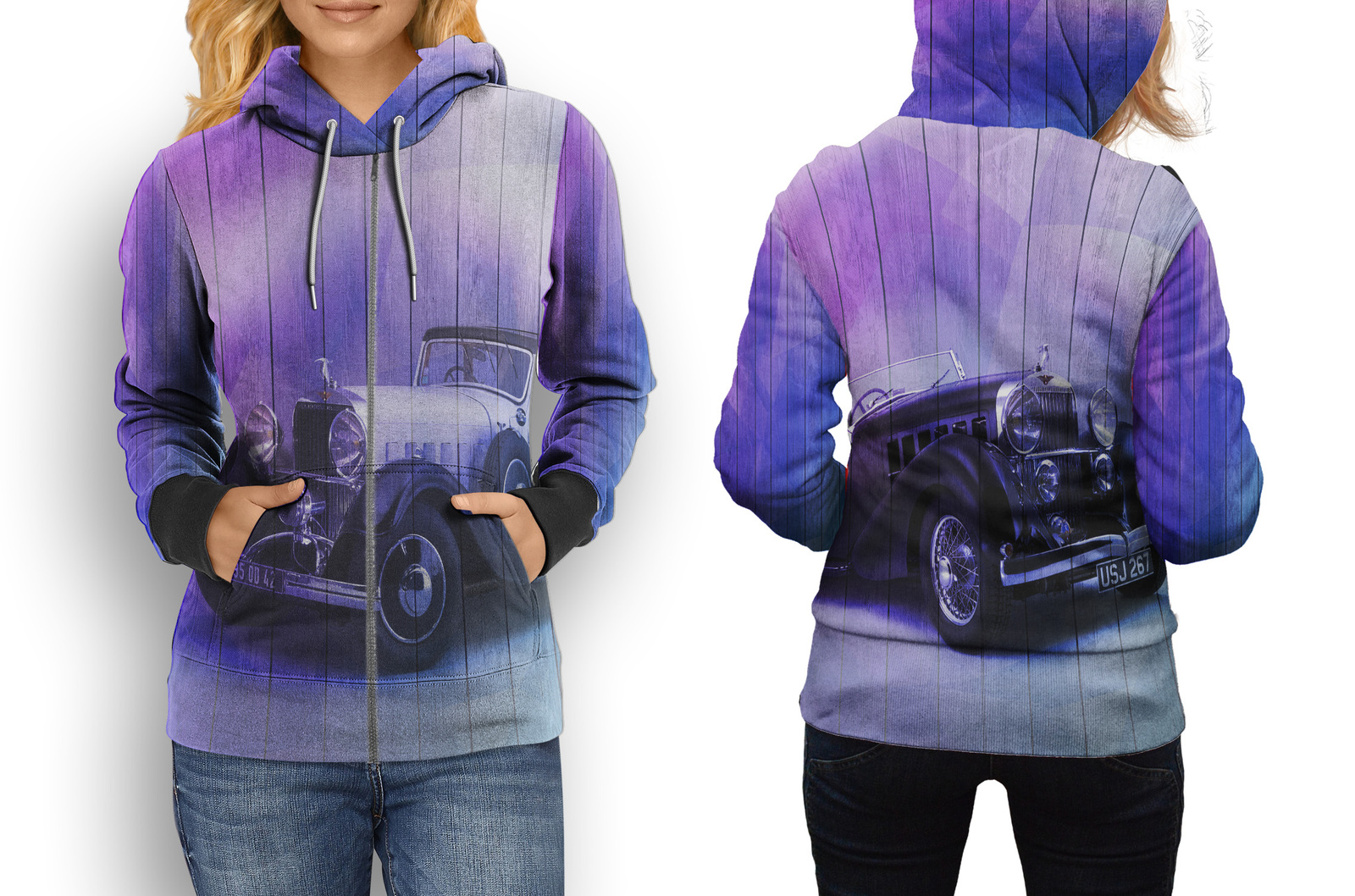 Primary image for hoodie women zipper AUTOMOTIVE VINTAGE Retro