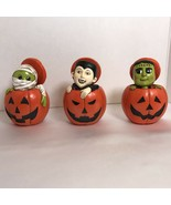 Halloween Jack O Lanterns Tiered Tray Pumpkins Mummy, Dracula and Franki... - $39.99