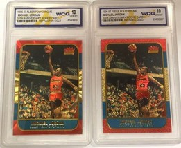 2 Michael Jordan Fleer 10th Aniversario Refractor & Oro Cepillado Carta Rookie - $29.42