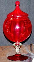 Elegant Red Chalice with Lid AA20-2132 Vintage image 2