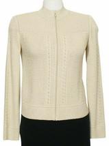 ST. JOHN Gold Shimmer Wool Blend Mixed Stitch Knit Cardigan Jacket P XS - $399.99