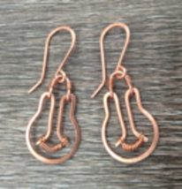 "Handmade copper earrings ""bright idea"" lightbulb - $30.00"