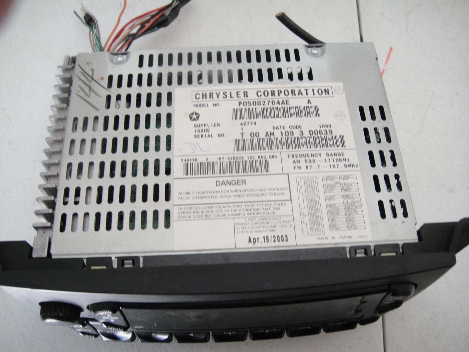 04 05 06 07 08 Chrysler Pacifica Radio Cd Player P05082764AE image 2