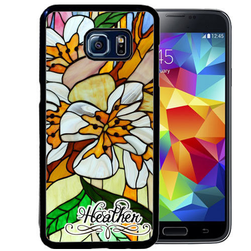 PERSONALIZED CASE FOR SAMSUNG S9 S8 S7 S7 S6 PLUS RUBBER STAINED GLASS